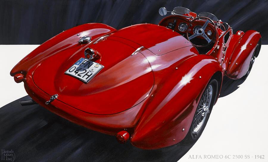 Alfa Romeo 6C 2500 SS, 1942-Hendrik Muller_painting