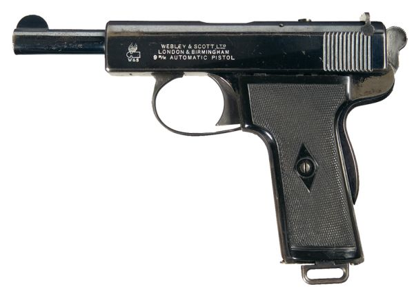 Webley and Scott Automatic Pistol in 9mm Browning Long (Image courtesy of http://www.world.guns.ru).
