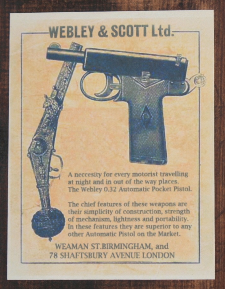 "The caption on the box says ""A necessity for every motorist traveling at night and in out of the way places. The Webley .32 Automatic Pocket Pistol."" Pre-World War I Britain was obviously a very different place than modern Britain. But are people safer now than they were then?"