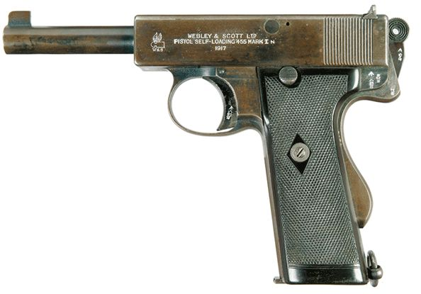 Webley and Scott MkI in 455 Automatic. (Image courtesy of http://www.world.guns.ru)