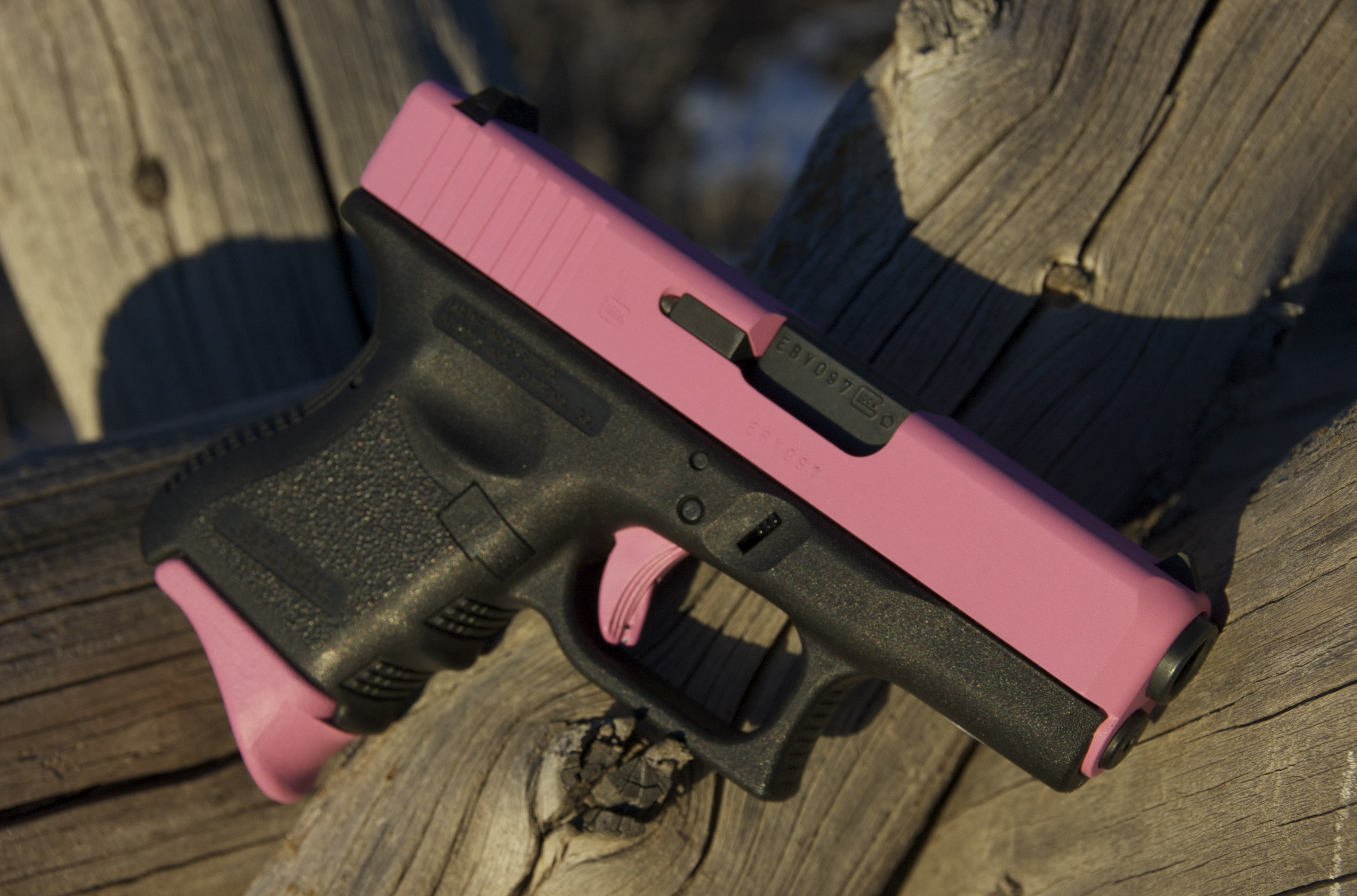 A Pink Glock. All that's missing is a Minnie Mouse logo, or perhaps a Hello Kitty. (Picture courtesy of altitudegunworks.com)
