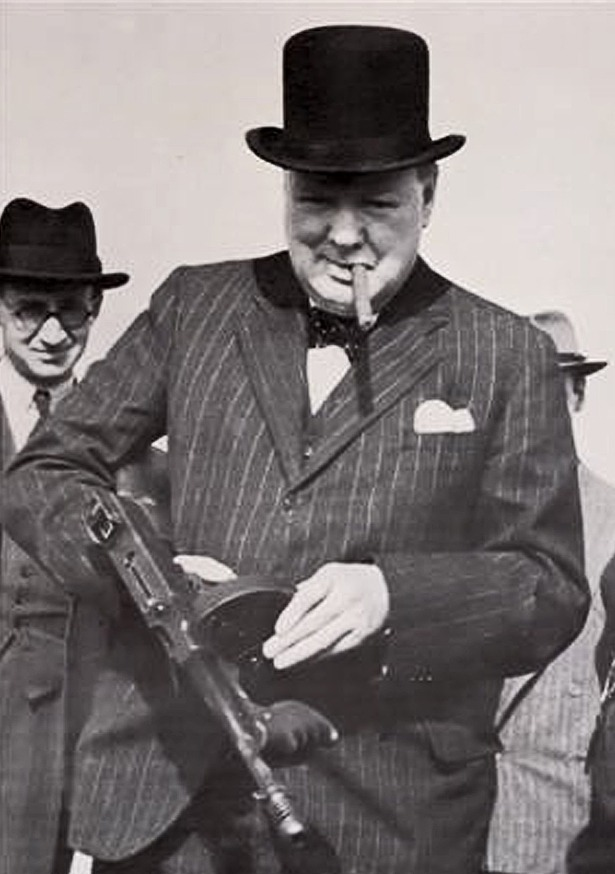 Winston Churchill with Thompson sub-machine gun and Romeo and Juliet cigar.