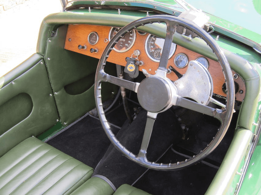 "Interior of the Riley ""Imp"". The Wilson pre-selector gear switch is clearly visible mounted on the steering column."