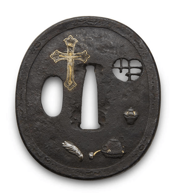 Early seventeenth century sword tsuba featuring an unusual crucifix in it's decoration.
