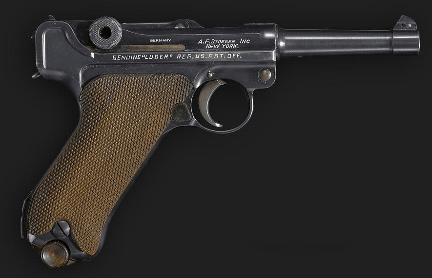 A Krieghoff 36 date parabellum pistol, distributed in the USA by Stoeger.