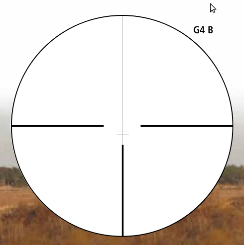 The illuminated G4b reticle of the K15i 1-5x24mm riflescope.