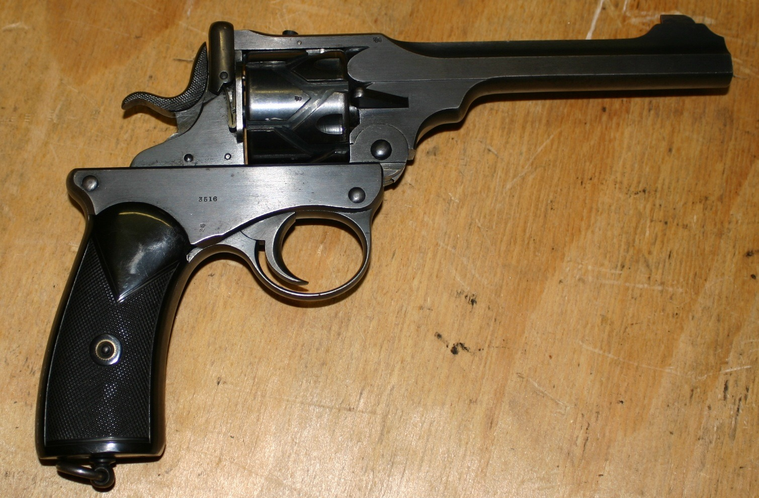 The Webley Fosberry revolver. The only revolver ever chambered for the 38ACP. (Picture courtesy of forgottenweapons.com).