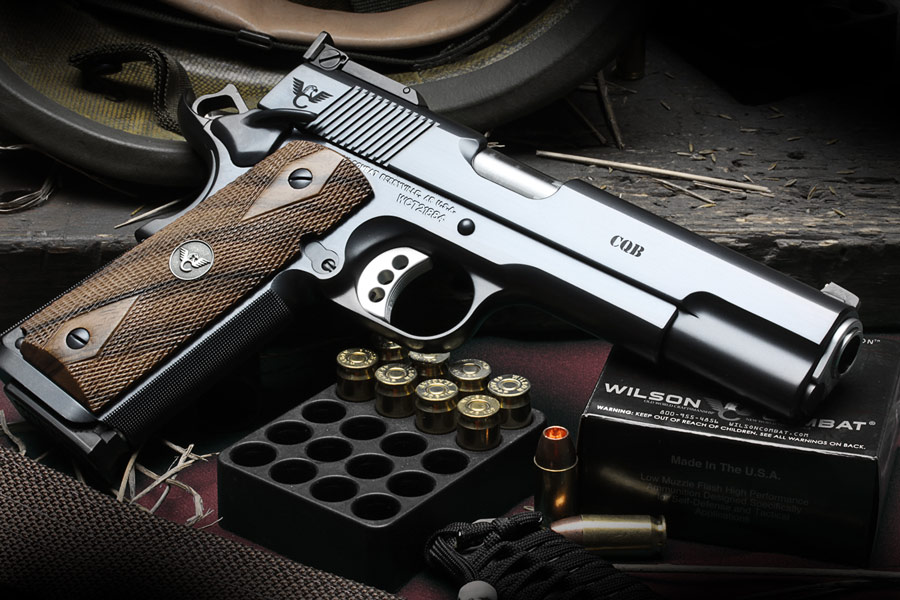 A Wilson Combat CQB 1911 style pistol with target sights. An example of the top quality custom pistols which can be had in 38 Super.