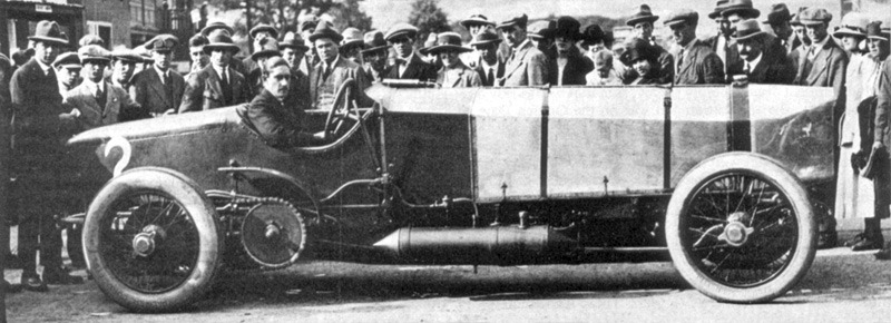 Count_Zborowski in Chitty Bang Bang 1, a 23 liter racing car at Brooklands in the early twenties.