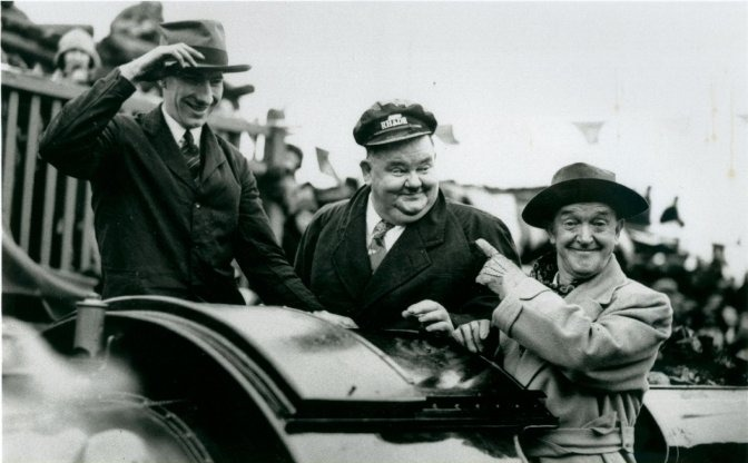 Stan Laurel and Oliver Hardy on the footplate of Doctor Syn at the re-opening of the RH&DR in 1946. (photo courtesy of laurelandhardy.org).