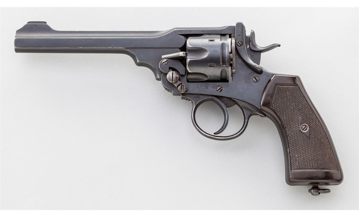 Webley Mark VI revolver with the more upright grip similar to Smith and Wesson revolvers. (Picture courtesy of icollector.com)