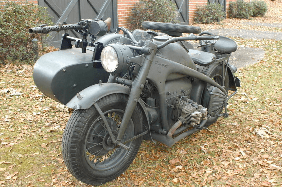 1942 Zundapp KS750 Military Motorcycle with Sidecar Mounted Machine Gun