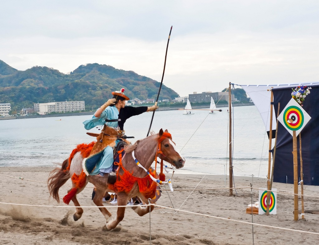 "Japanese ""Yabusame"" horseback archery - an example of serious fun."