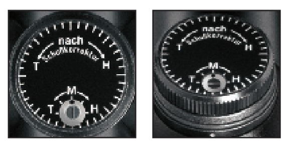 Inside view of the adjustment turrets of the Schmidt and Bender Classic series showing the adjustment center indicator.