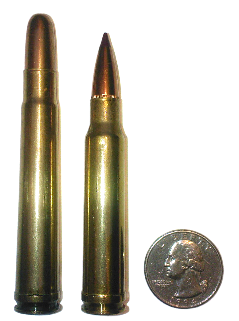 The 375 Holland and Holland Magnum here compared with a 338 Winchester Magnum and a small piece of currency familiar to US citizens).
