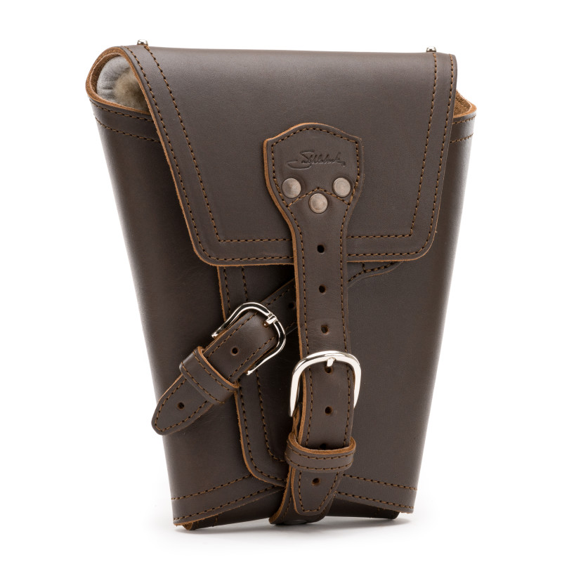 "The Saddleback Leather Pistol Wrap, shown here in ""Coffee Brown""."