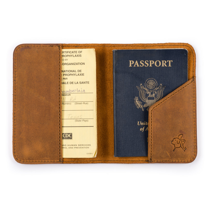 "Passport sleeve in ""tobacco"" color."