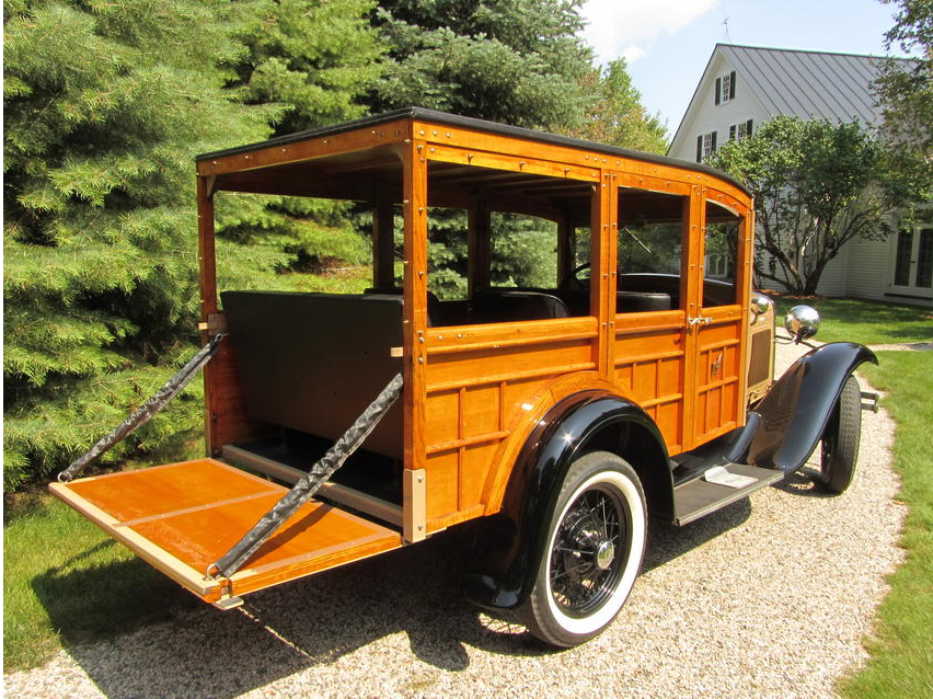 Large flat wooden tailgate suitable for unloading the guns and preparing for the shoot.