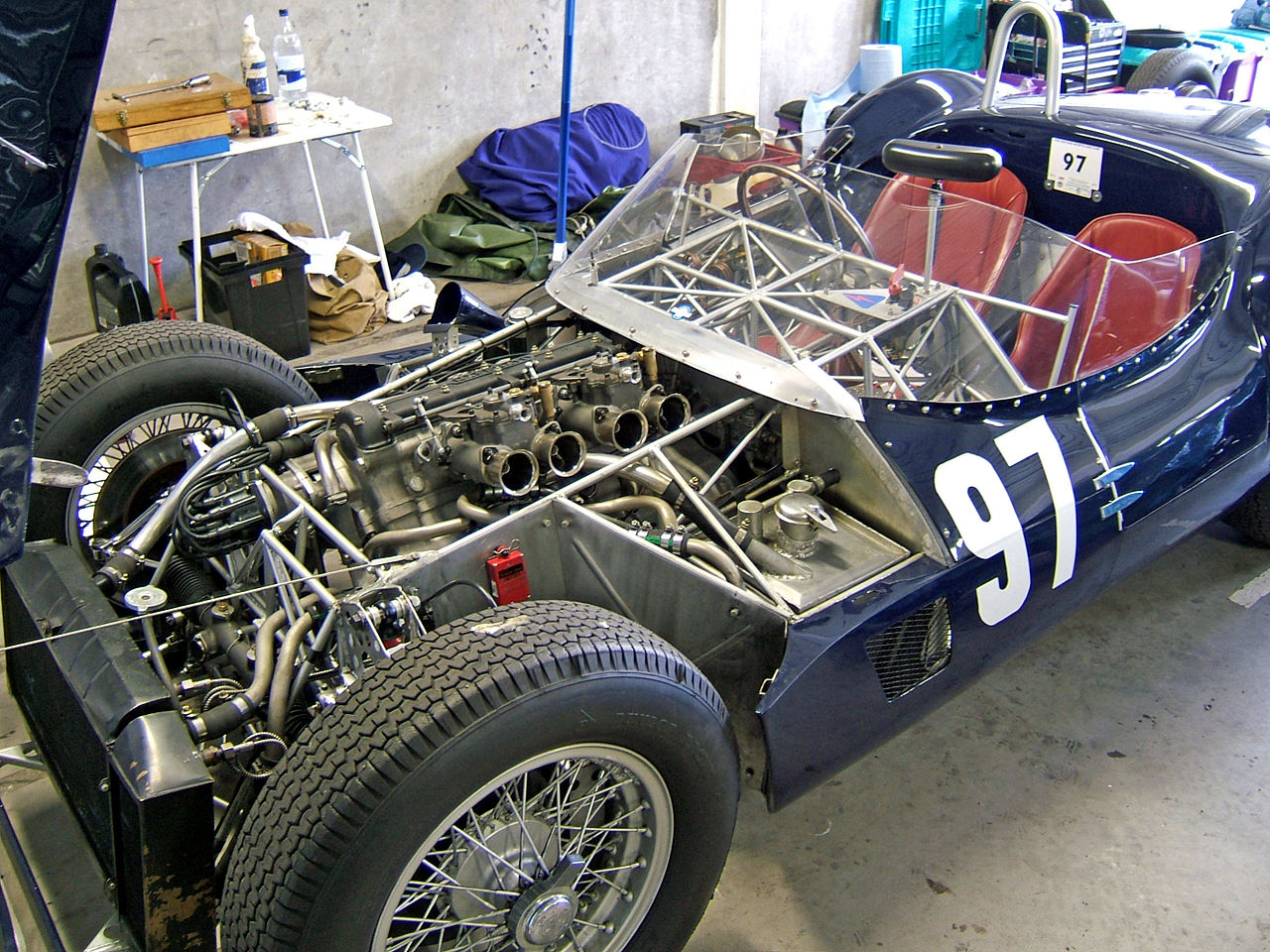 "This picture gives a good impression of the construction of the car and the thin tubular frame that resulted in its being dubbed the ""Birdcage""."