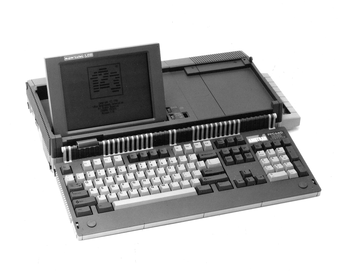My first computer; an Amstrad 640K. There was no internal hard disk. The system operated from two 720kb floppy disks.