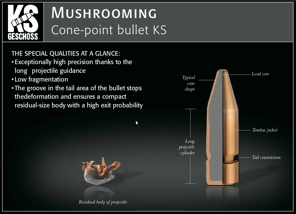 "The RWS KS ""Cone Point"" bullet. A superb performer in the 6.5x68. (picture from RWS catalog)."