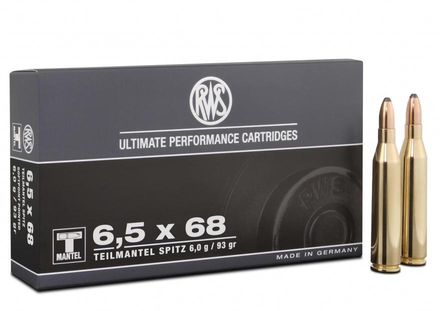 Current production RWS 6.5x68 93grainTeil Mantle (soft point) ammunition.