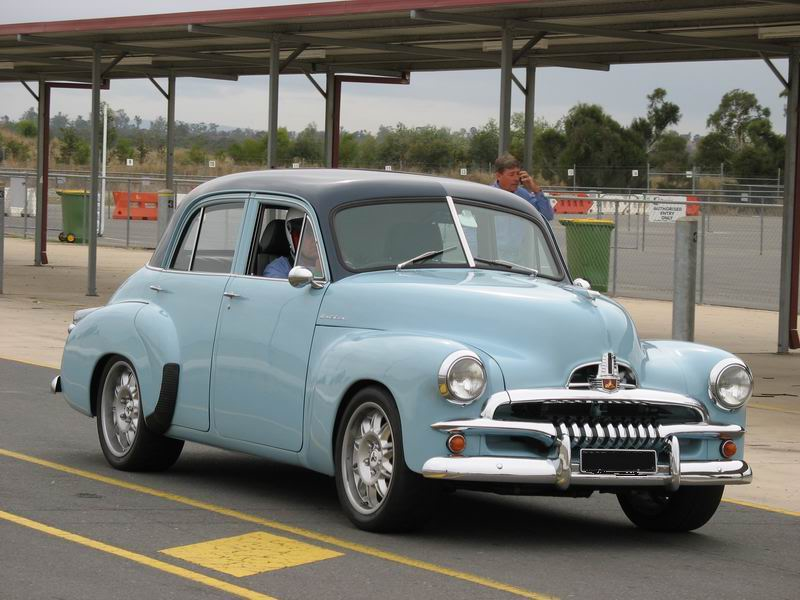 "Australia's own ""Surf City"" car, the FJ Holden. This one has the mag wheels but lacks the ""twin overhead fox-tails"". (Picture courtesy of ozrodders.com)"