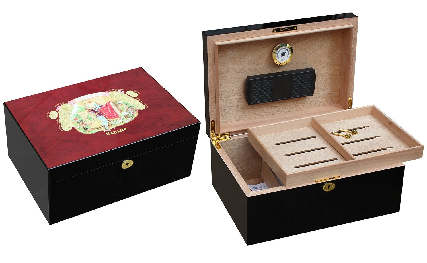 """A Romeo Y Julieta humidor with removable tray which might just be useful as discrete storage for your """"smoking gun"""" with your smoking cigars."""