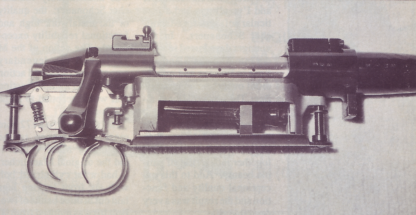 Right side view of the action showing the contoured magazine follower of the Schönauer magazine. The use of plastic might be fine in a Steyr AUG or a Glock, but it is not fine in a fine sporting rifle.