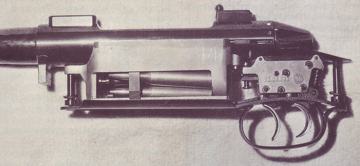 Author's M72 in 6.5x68 Schuler with the action removed from the stock. The support for the cartridges at the shoulder is clearly visible.