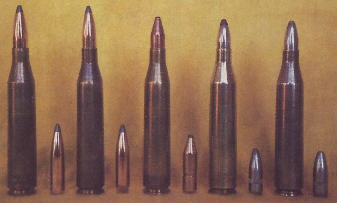 """Author's preferred bullets for the 6.5x68 Schuler in the Mannlicher-Schönauer M72. From left; 140grain Nosler Partition, 140grain Sierra SPBT, RWS 127grain KS (Kegel Spitzer - """"Cone Point""""), 93grain RWS TM (Teil Mantle - """"soft point"""".), 93grain RWS VM (Vol Mantle - """"full jacket"""")."""