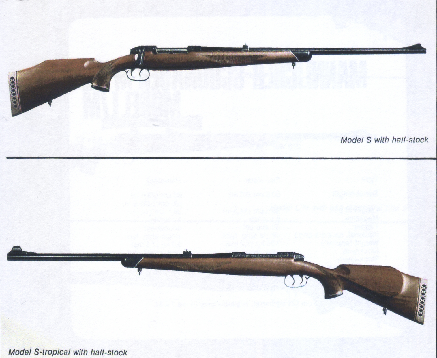 The Mannlicher-Schönauer M72 Model S and S/T stock style options. (Picture from the original Steyr catalog and courtesy of Steyr.)