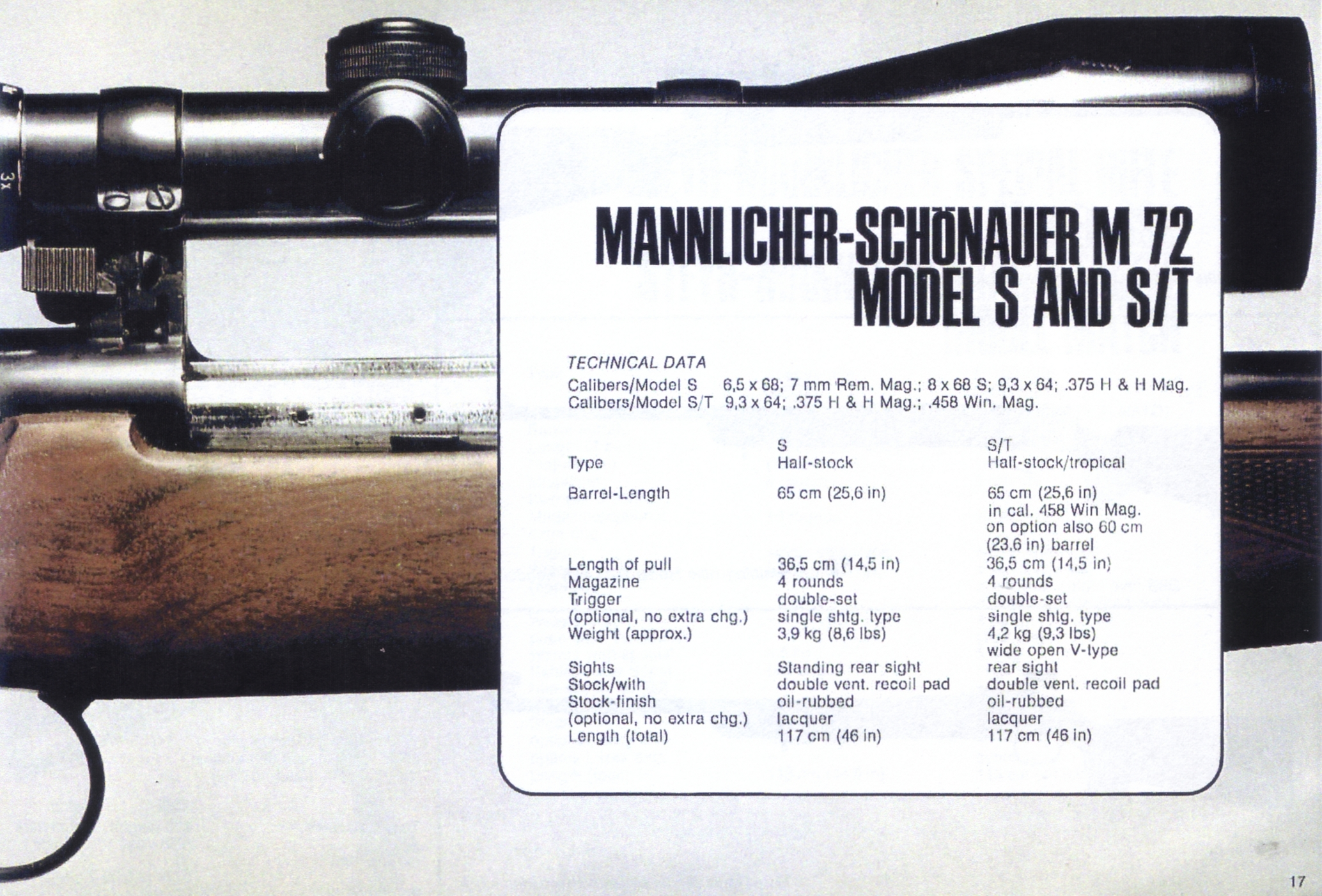 The Mannlicher-Schönauer M72 Model S and Model S/T specifications, calibers and other options. (Picture from the original Steyr catalog and courtesy of Steyr.)