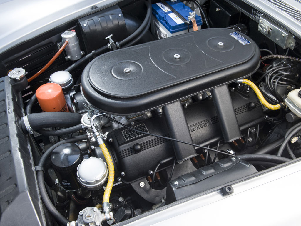 Ferrrari 300bhp, 3,967 cc SOHC V-12 engine with three Weber carburetors. It performs as one would expect a Ferrari to perform and sounds brilliant doing it.