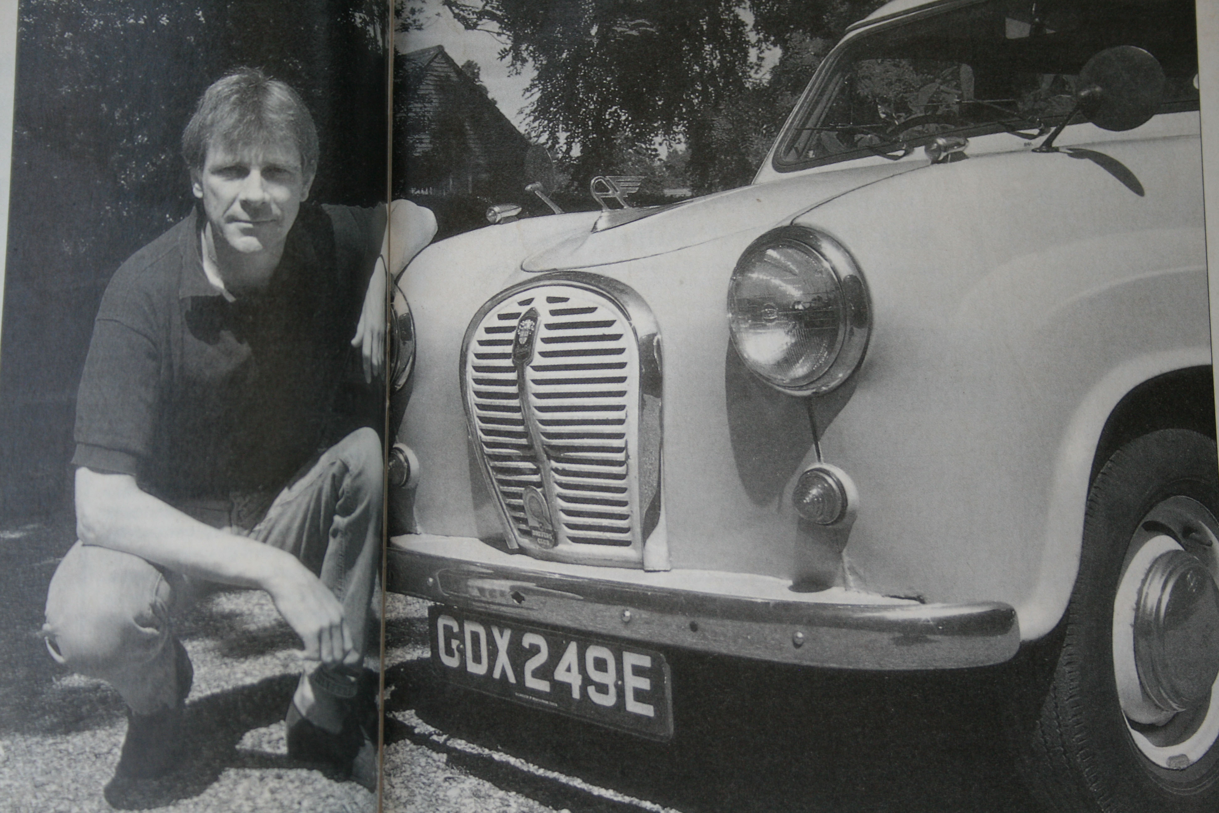 The late and great James Hunt with his Austin A35 van.
