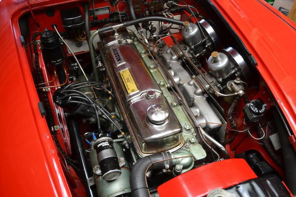 The wonderful 3 liter six cylinder engine of the Austin Healey 3000 with its distinctively British twin SU carburettors.