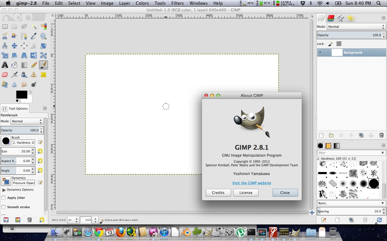 GIMP running on Mac OS X. GIMP is multi-platform so it can be run on Mac OS X, Windows, Linux and BSD. (picture courtesy of macupdate.com)