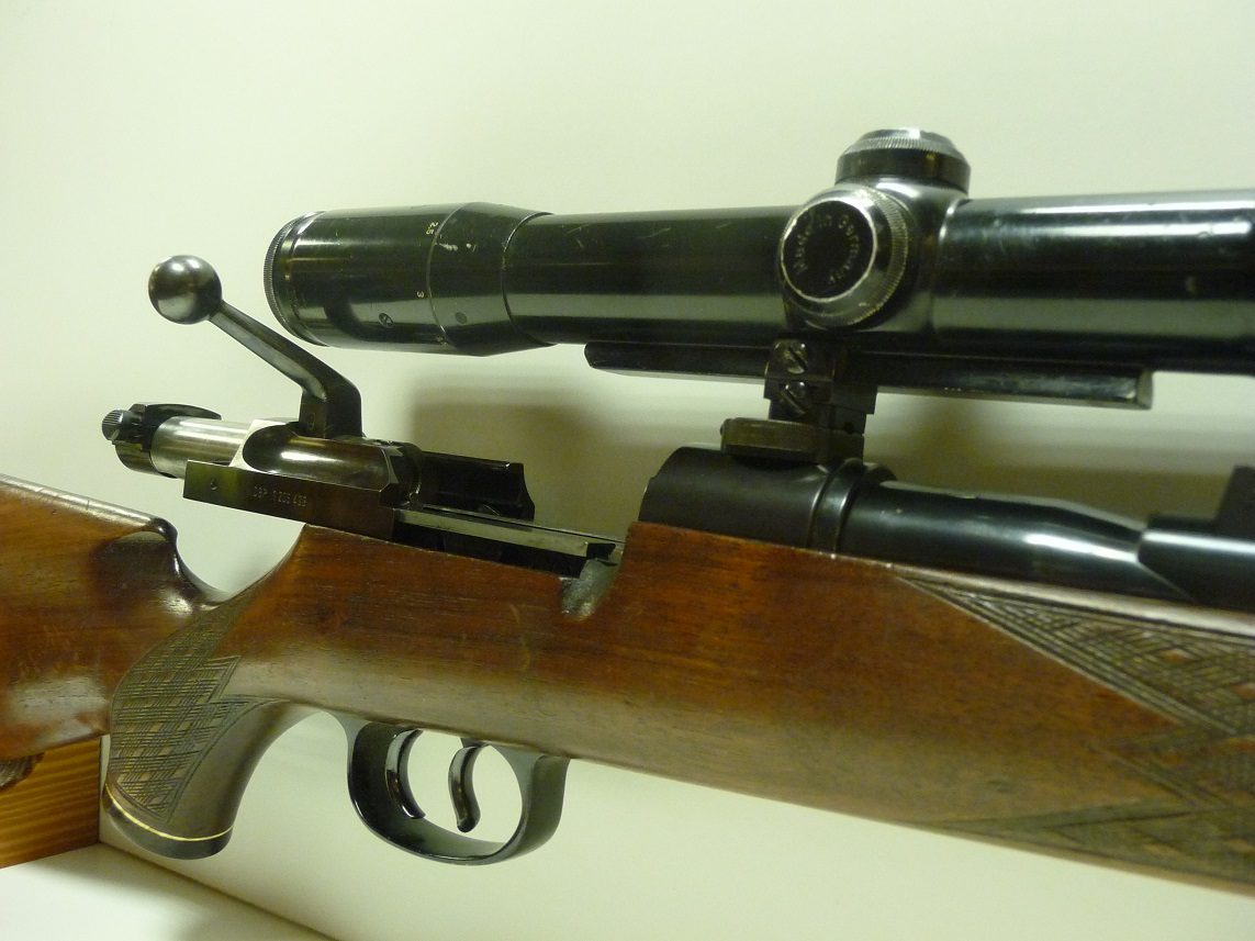 The telescoping bolt action of the Mauser 66. The action is smooth and permits the action length to be much shorter than on a conventional bolt action rifle.
