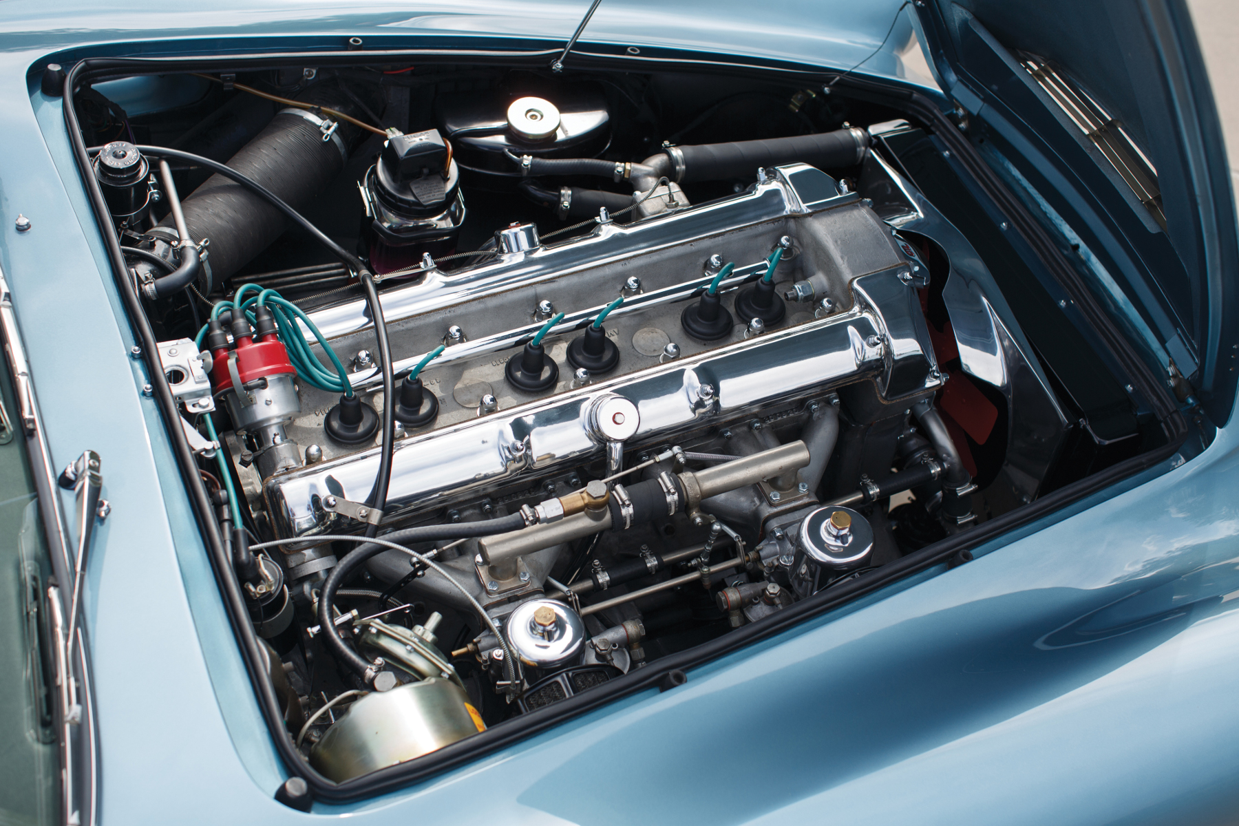 The Tadek Marek 3.9 liter in-line six cylinder of the Aston Martin DB4 which replaced the Lagonda I6 of the DB3.