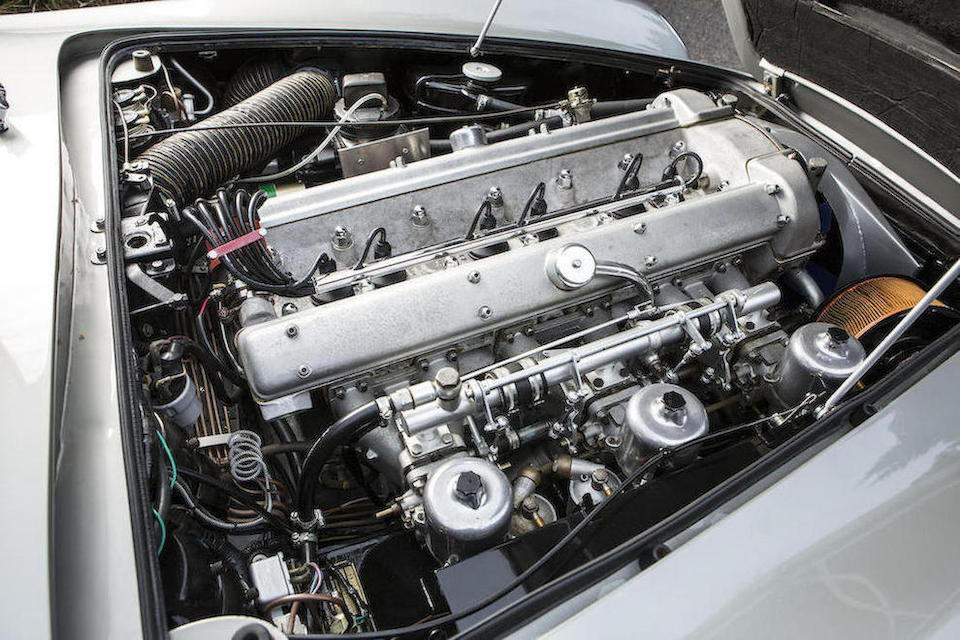 The 3995cc Tadek Marek all alloy in-line six cylinder engine of the DB5 with triple SU carburettors.