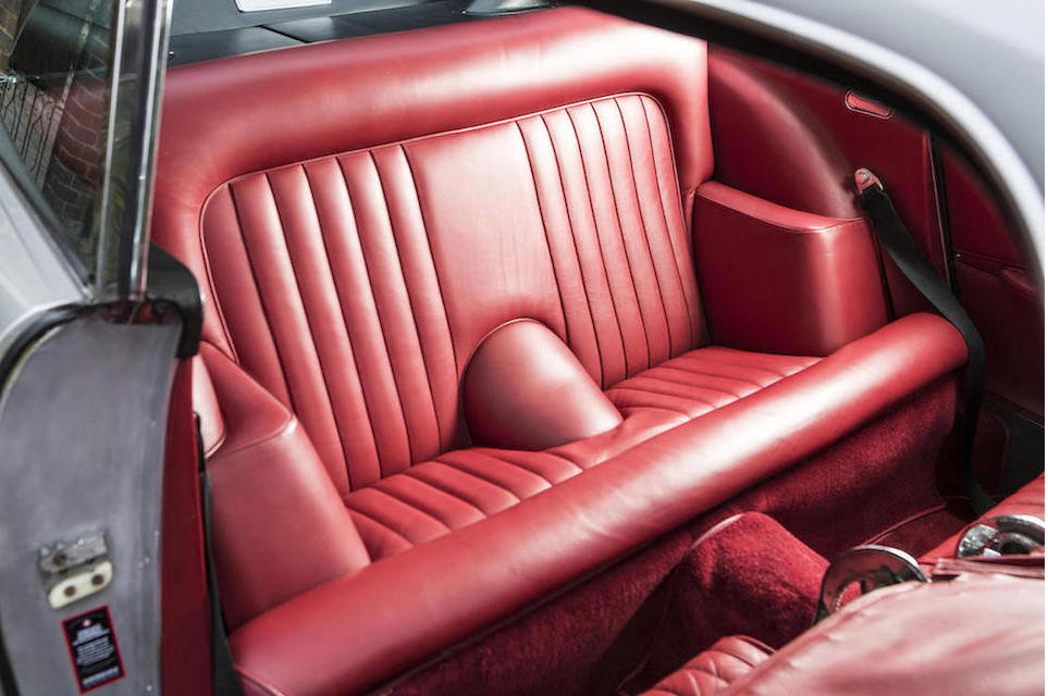 Interior of the sale car has a slight patina of gentle use. The rear seats of a DB5 are quite comfortable though perhaps only for shorter road trips.