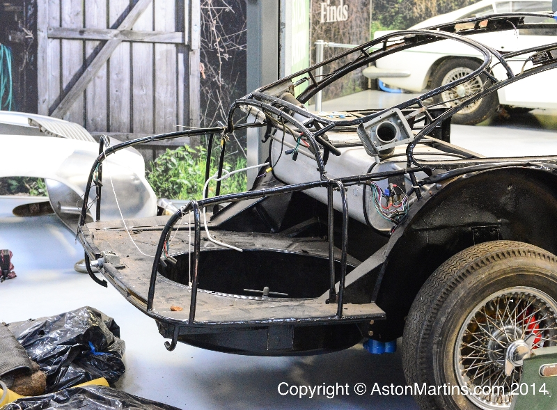 The steel tubing Superleggera frame of an Aston Martin DB5 with body panels removed. (Picture courtesy of astonmartins.com).