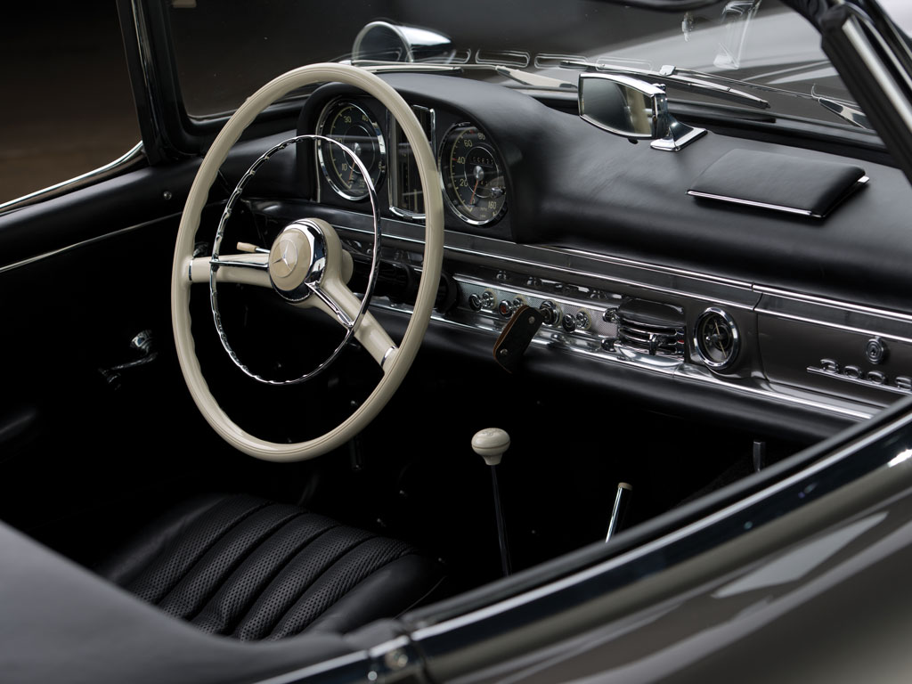 "The combination of black leather interior and factory correct Anthracite Gray paintwork enhance the cars ""space age"" appearance. (Courtesy RM)."