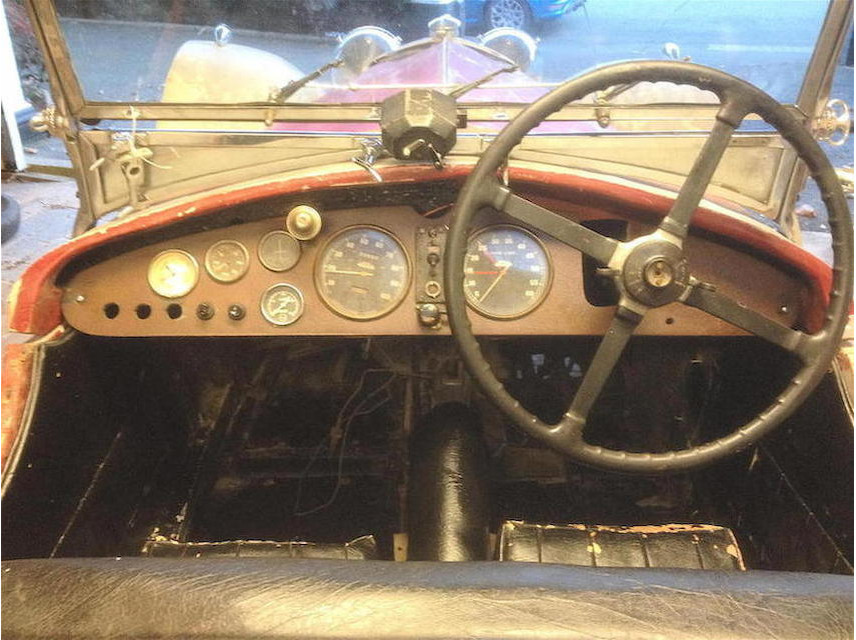 The dashboard of the Riley Imp is a vintage sports car enthusiast's delight.