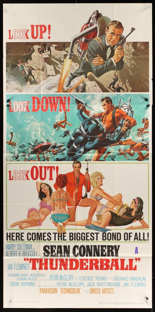 "Original poster for the James Bond movie ""Thunderball"" into which Ivar Bryce had significant input. Firearms enthusiasts will of course notice that Bond's pistol in the top picture is in fact a Walther air pistol, not in the slightest bit lethal unless one used pellets filled with cyanide. Quite a nice air pistol for home target plinking however."