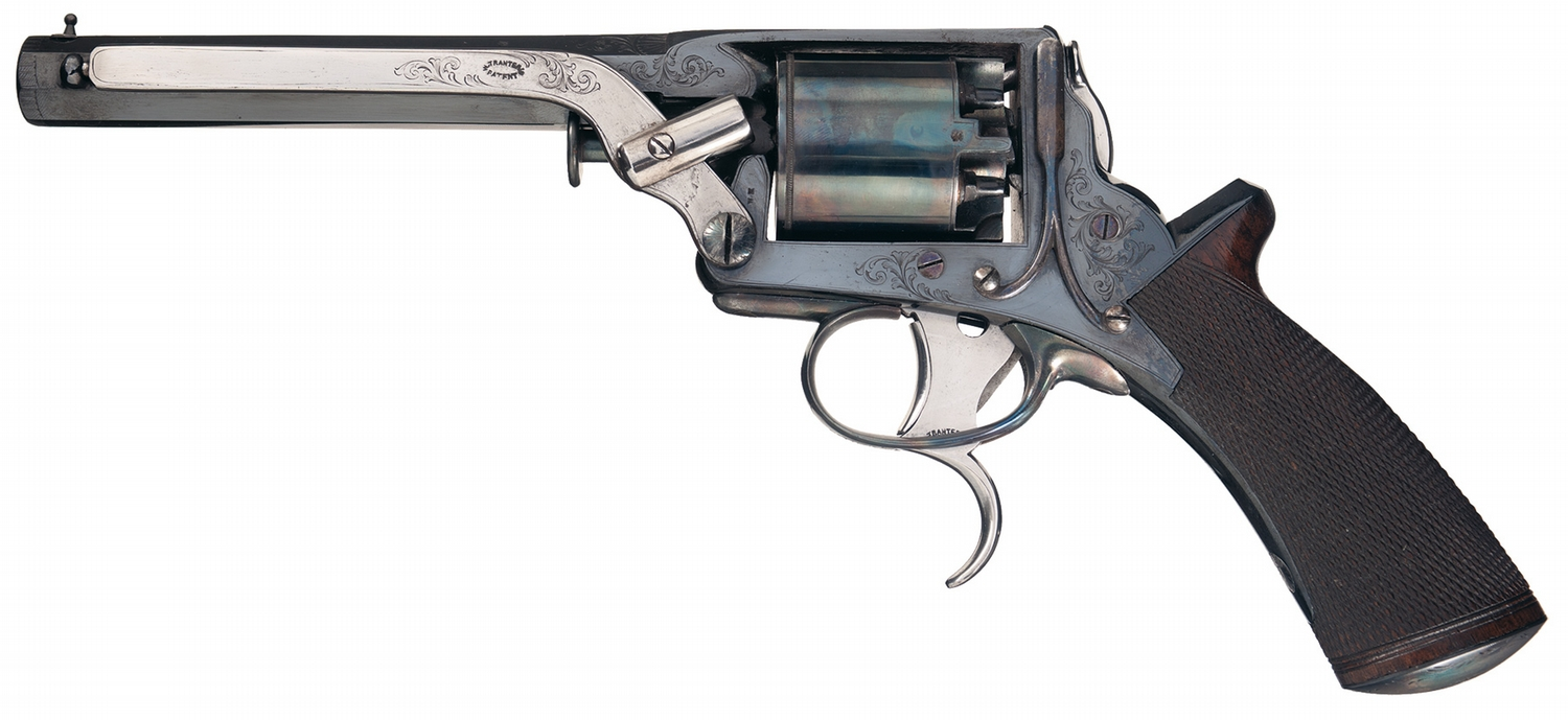A Tranter revolver with the two trigger system. The trigger that extends below the trigger guard is for cocking the hammer and rotating the cylinder. Note that the hammer has no spur on it as it does not need to be cocked with the thumb. The trigger inside the trigger guard actually fires the revolver. (Picture courtesy of icollector.com).