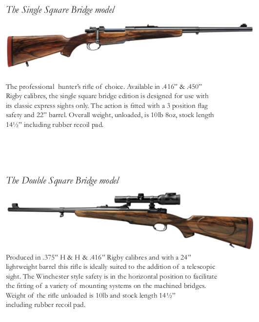The page from the Rigby catalog describing the single square bridge and double square bridge models of the Big Game Rifle. (Picture courtesy of Rigby).