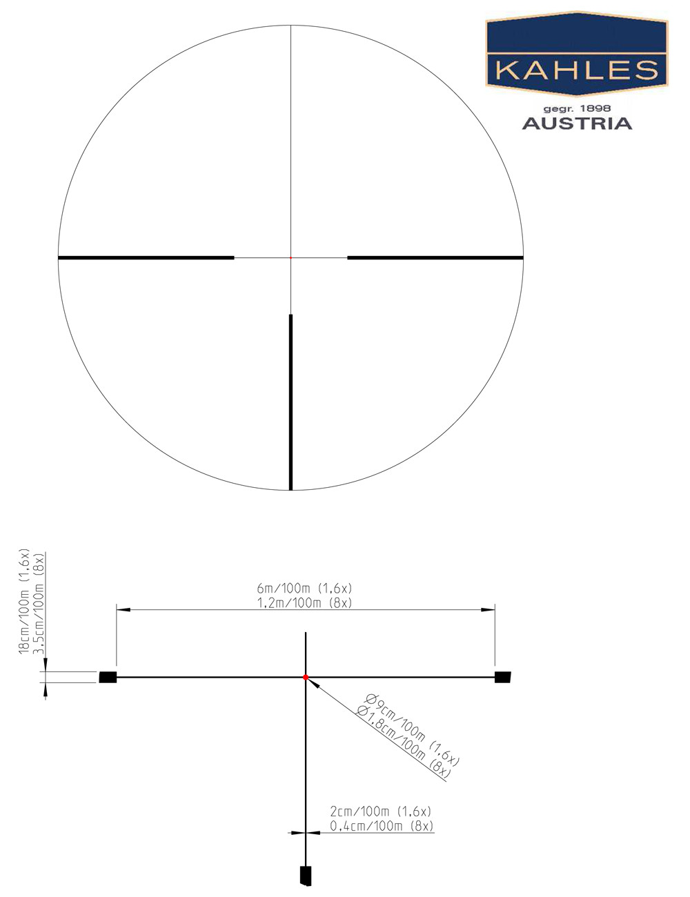 "The 4-Dot reticle with subtensions for the 1.6-8x42i. The Helia 5 rifle-scopes feature reticles located in the second focal plane as typically preferred in the United States. This means that the reticle is ""non-magnifying"" but it also means that the size of the reticle subtensions change as the magnification is changed. (Picture courtesy of Kahles)."