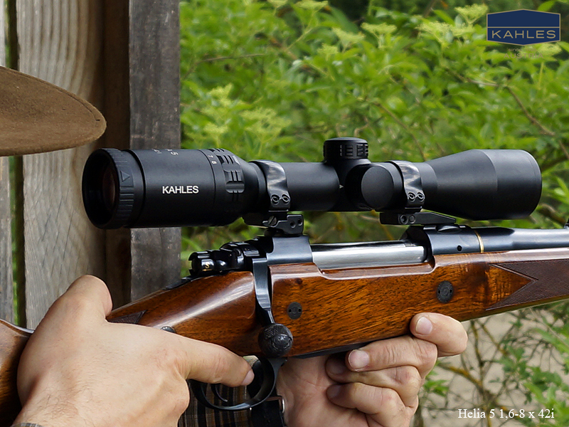 The Kahles Helia 5 1.6-8x42i is a quite compact rifle-scope. The 42mm objective lens enables the rifle-scope to be mounted as low as is practicable. (Picture courtesy of Kahles).