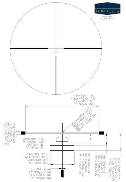 The G4b reticle is a similar design to the 4-Dot but halves the distance between the heavy bars, and includes three additional lines for range finding and aiming off guidance. (Picture courtesy of Kahles).